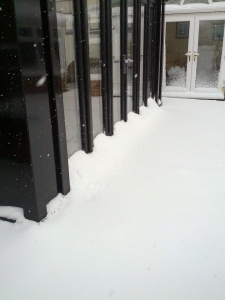 Where is the bottom of our Loggia? The snow drifts around the site were quite impressive!