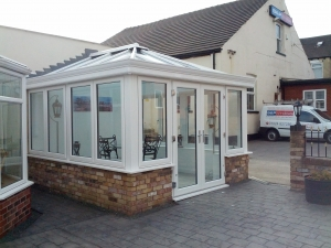 Our new white conservatory with Pilkington Activ Blue glass roof