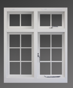 An Evolution Storm 2 window in white wood grain with traditional style Georgian fretwork.